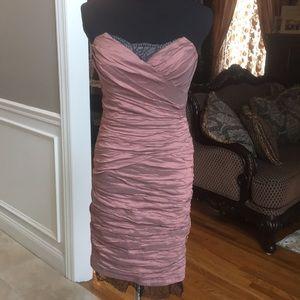 BCBGMAXAZRIA strapless dress with black lace